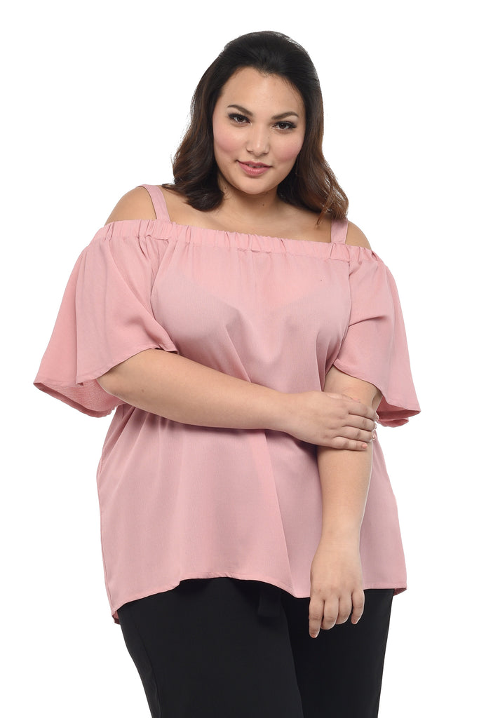 Strappy Off-Shoulder Top (FBL 018) - Burnt Rose