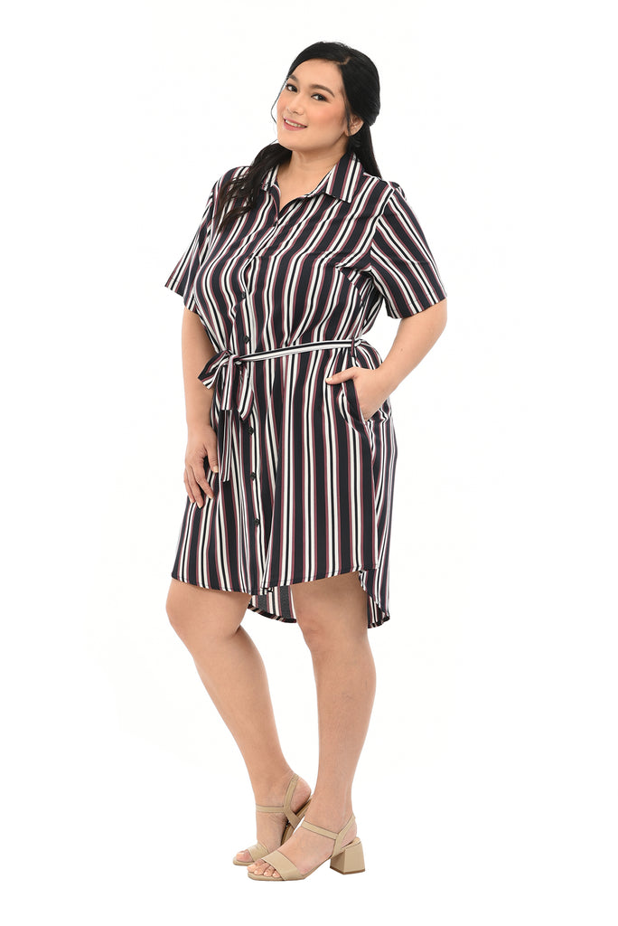 Stripe Shirt Dress (FDS 010A) Navy
