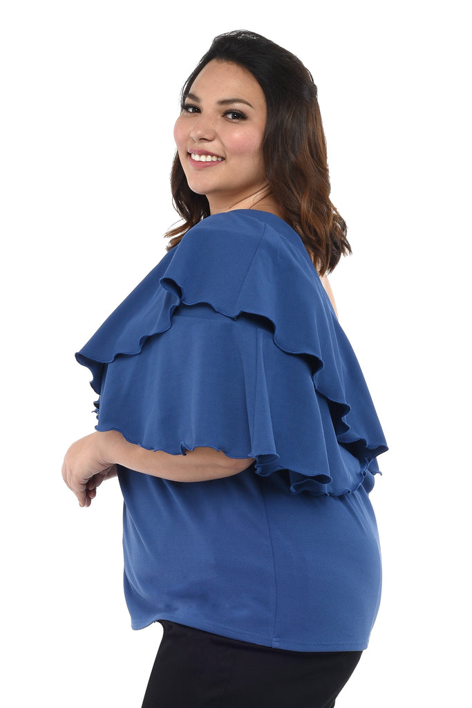 Cold-Shoulder Ruffle Top (FBL 012) Azure