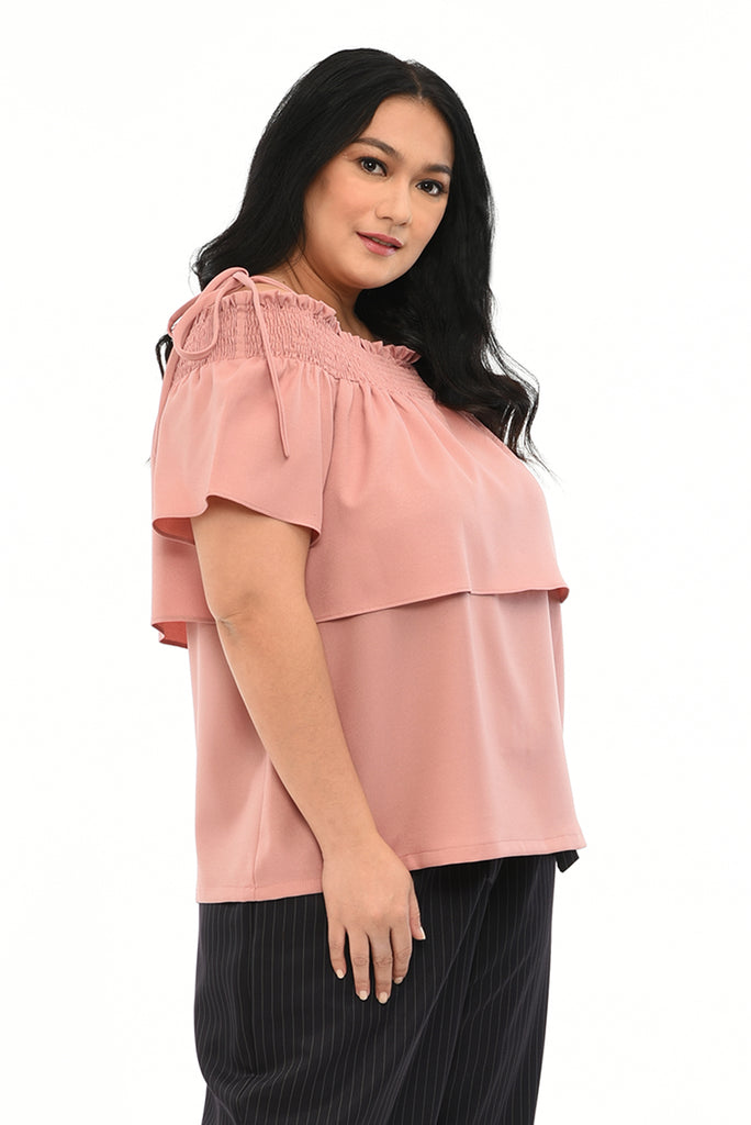 Smoked Off Shoulder-Layered Top (FBL 036) - Dusty Rose