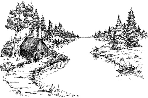 Cabin on the River Cutting Board 9 x 12