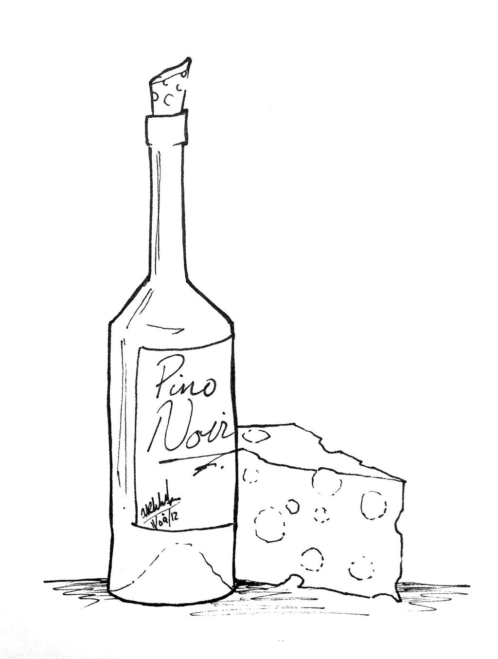 Wine and Cheese Cutting Board 9 x 12