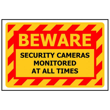 BEWARE Security Cameras Monitored At All Times