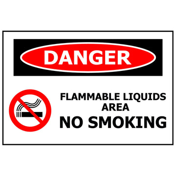 DANGER Flammable Liquids Area No Smoking