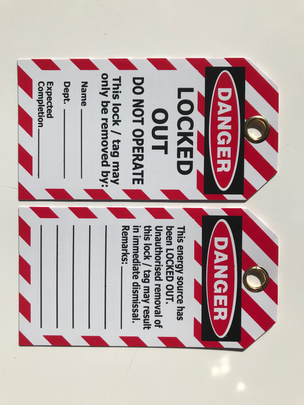 DANGER (Red/White) Locked Out - Tag Pkt 25