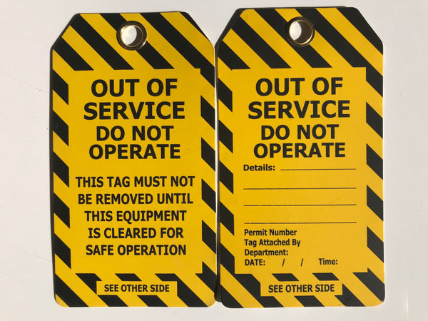 OUT OF SERVICE Do Not Operate (yellow / black chevron) - Tags Pkt 25