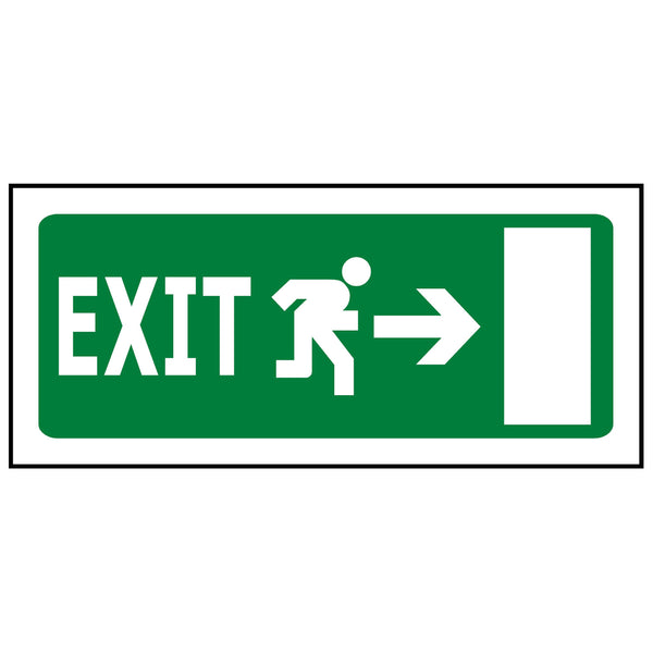 330x145 Emergency Exit Right - Luminous (Glow in the Dark)