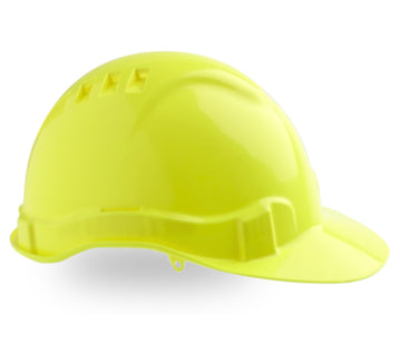 Vented Hard Hat Fluoro Yellow 6 point ventilation