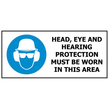 Head, Eye & Hearing Protection Must Be Worn