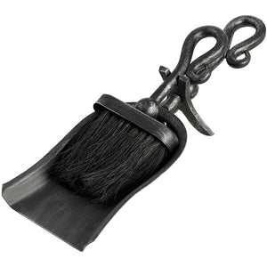 Black Brushed Steel Crook Top Hearth Tidy Set