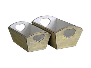Set of 2 Heart Handled Rustic Trugs