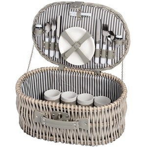 Oval Luxury Picnic Basket with Plates and Cutlery