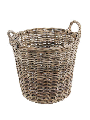 Grey Rattan Round Log Basket