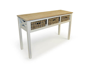 Southwold Console Teak Table White Wash