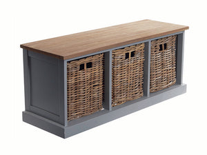 Southwold Grey 3 Basket Bench