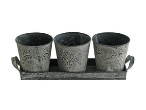 Acanthus Stone 3 Pots on Tray