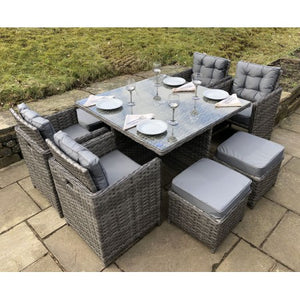 Luxury Grey Rattan 8 Seat Garden Dining Cube Set