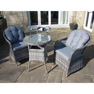 Luxury Grey Rattan Outdoor 3 Piece Bistro