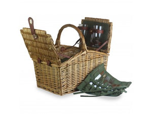 2 Person Green Tweed Double Lidded Hamper