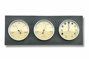 Moon, Thermometer, Barometer, Horizontal Clock made from recycled plastic