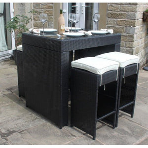 Rattan Outdoor Garden Furniture 5 Piece Bar Set Black