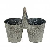 Double Pot with Handle (Acanthus design, Stone-coloured)