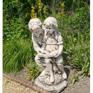 Jack & Jill Reading Statue - Antique Stone Effect