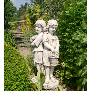 Jack & Jill Standing Statue- Antique Stone Effect