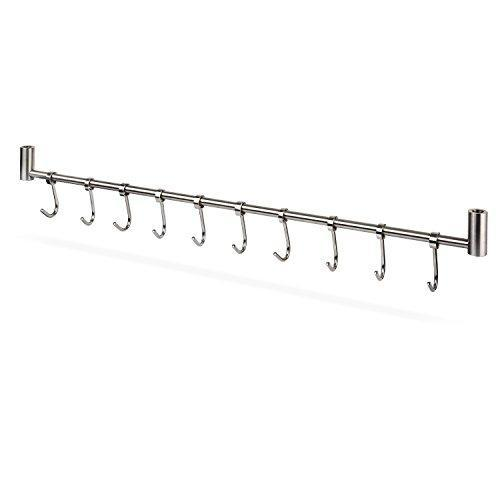 Budget squelo kitchen rail rack wall mounted utensil hanging rack stainless steel hanger hooks for kitchen tools pot towel