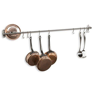 Storage organizer wallniture kitchen wall mount rail towel bar rack with hooks stainless steel 47 inch