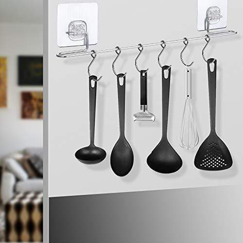Organize with sonorospace kitchen rail with sliding hooks no drilling wall mounted utensil rail rack stainless steel hanging hooks for kitchen tools pot towel