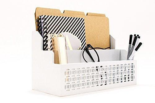 Shop blu monaco wooden mail organizer 2 tier white desk organizer with cutout trellis design rustic country letter sorter kitchen counter organizer file folder holder