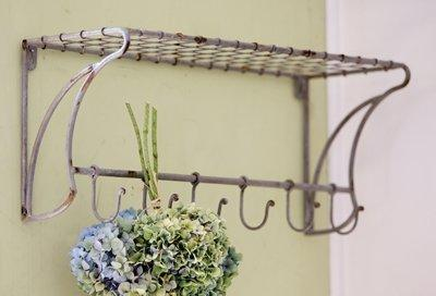 "Rustic Wire Wall Shelf - Hanging Rack with Hooks, 23""x 10""x 8"""