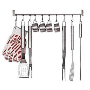 Amazon squelo kitchen rail rack wall mounted utensil hanging rack stainless steel hanger hooks for kitchen tools pot towel