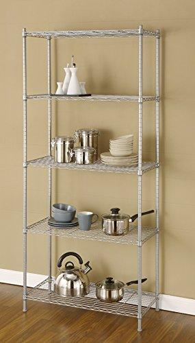 "Artiva USA 9907P 5 Shelf Wire Shelving Rack, 68"", Silver/Gray"