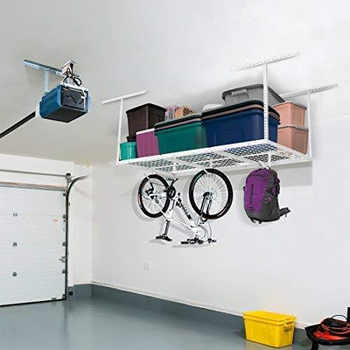 "FLEXIMOUNTS 3x6 Overhead Garage Storage Adjustable Ceiling Storage Rack, 72"" Length x 36"" Width x 40"" Height (white)"
