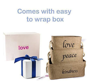 Try lillys love storage baskets organizer set 3 pack burlap nesting popular canvas storage bins for closet kitchen or bathroom organizing