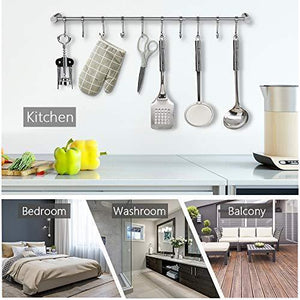 Latest nidouillet kitchen rail wall mounted utensil racks with 10 stainless steel sliding hooks for kitchen tool pot lid pan towel ab005