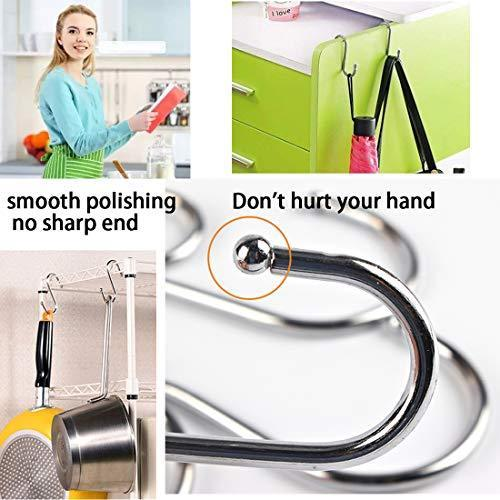 Storage organizer 30 pack heavy duty s shaped hooks rustproof sliver finish steel hooks hangers for kitchenware pots utensils clothes bags towels plants