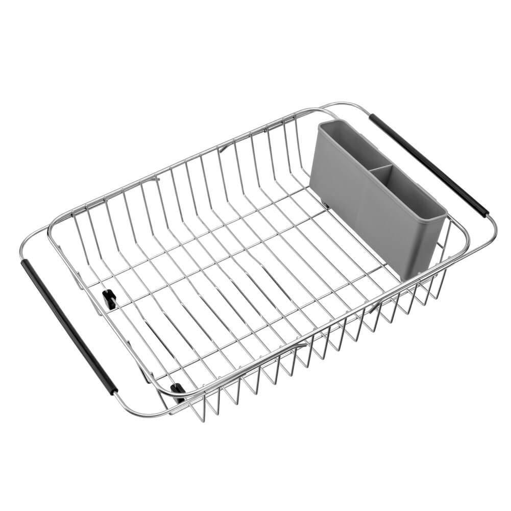 Organize with blitzlabs dish drying rack stainless steel with utensil holder adjustable handle drying basket storage organizer for kitchen over or in sink on countertop dish drainer grey