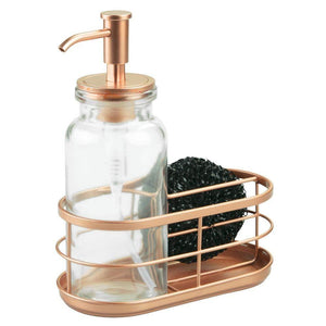 Home mdesign modern glass metal kitchen sink countertop liquid hand soap dispenser pump bottle caddy with storage compartments holds and stores sponges scrubbers and brushes clear copper