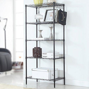 Budget friendly detailorpin changeable assembly floor standing carbon steel storage rack multipurpose shelf display rack for kitchen garage bedroom storage display shelves us stock black