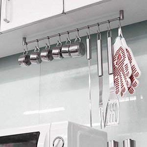 Amazon best squelo kitchen rail rack wall mounted utensil hanging rack stainless steel hanger hooks for kitchen tools pot towel