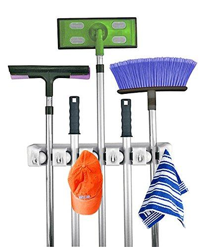 Home-it Mop and Broom Holder Wall Mount Garden Tool Storage Tool Rack Storage & Organization for the Home Plastic Hanger for Closet Garage Organizer (5-position)