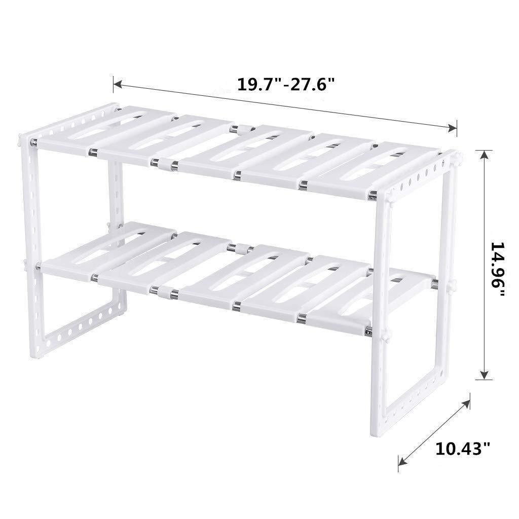 Organize with under sink organizer 2 tier expandable kitchen bathroom pantry storage shelf multi functional adjustable under kitchen sink organization storage rack heavy duty white