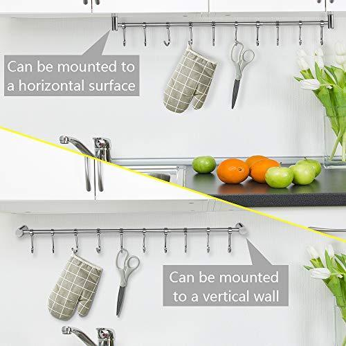Home nidouillet kitchen rail wall mounted utensil racks with 10 stainless steel sliding hooks for kitchen tool pot lid pan towel ab005