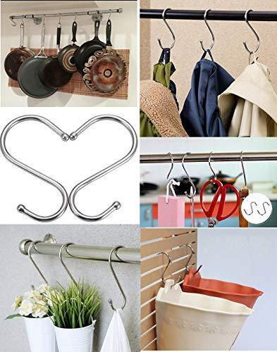 The best 30 pack heavy duty s shaped hooks rustproof sliver finish steel hooks hangers for kitchenware pots utensils clothes bags towels plants