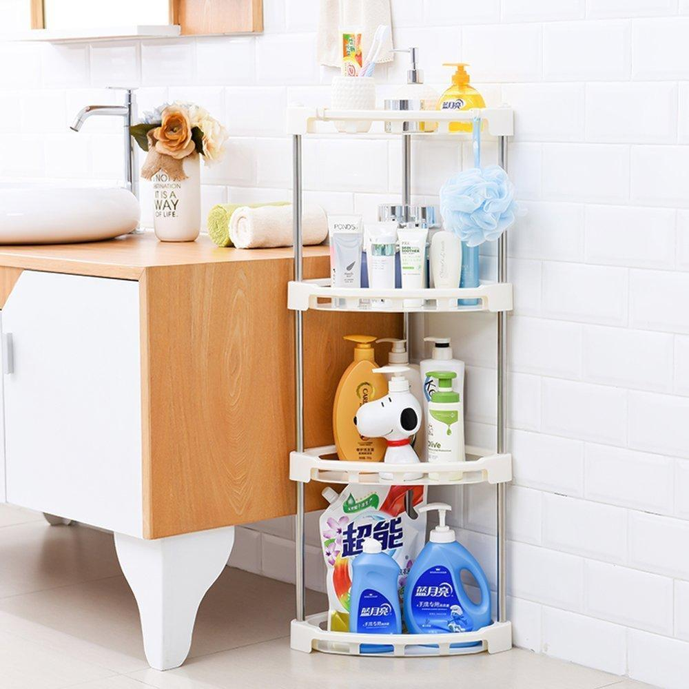 Get 4 tier corner storage organizer shelf i best kitchen spice rack makeup cosmetics counter organizing stand bathroom organizer off white 4 tier