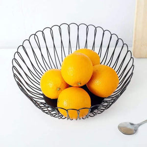 Best seller  creative wire fruit dish basket bowl modern large black decorative table centerpiece holder for kitchen counters living room 10 62 inch petals
