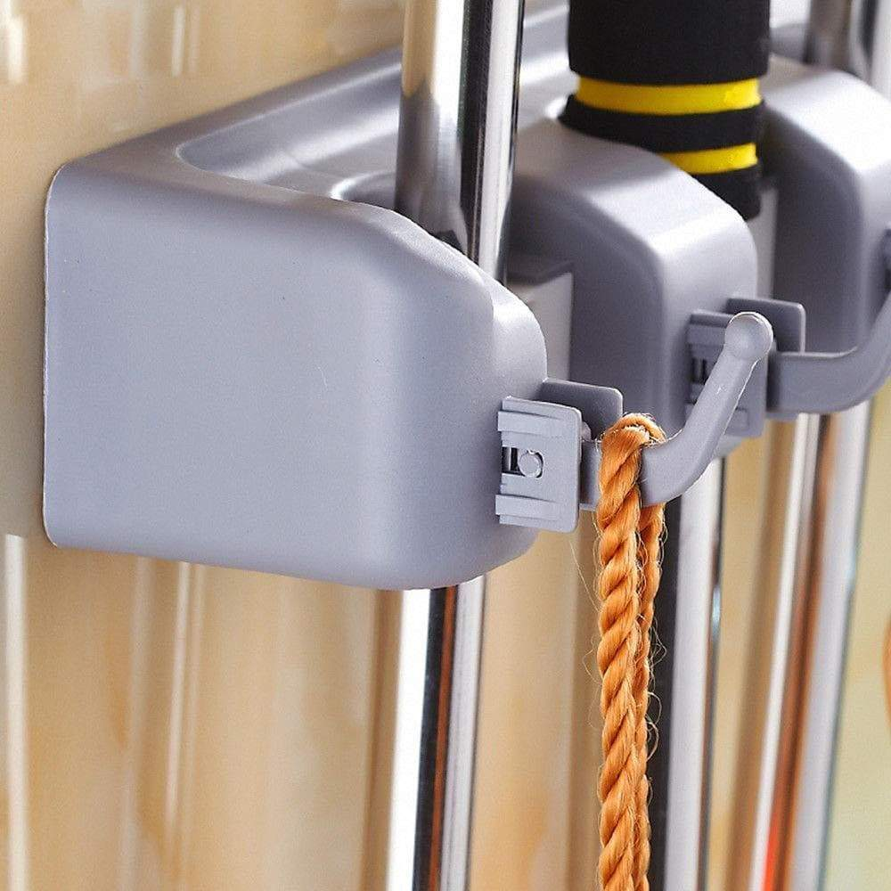 Discover the free walker magic wall mount mop holder with 5 positons and 6 hooks broom holder hanger brush cleaning tools for home kitchen prefect for storage and organization 5 postions